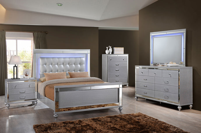 VALENTINO - BEDROOM SET WITH TUFTED LEATHER HEADBOARD AND LED LIGHTS - 8 PC