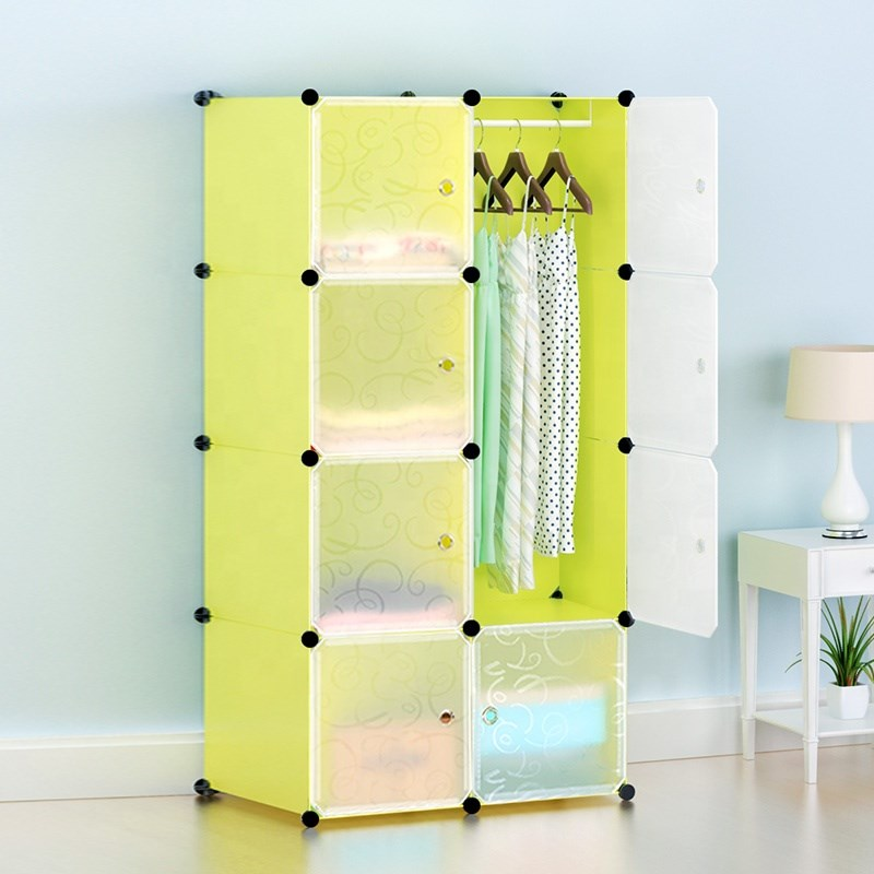 8 Cube Cabinet with Hanging- Green