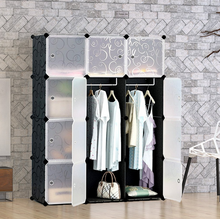 Load image into Gallery viewer, 12 cube Plastic Black Wardrobe