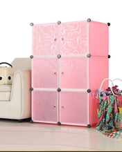 Load image into Gallery viewer, 6 cube Pink Plastic Wardrobe
