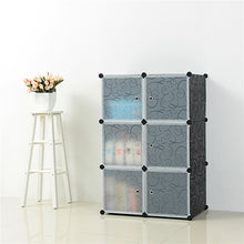 Load image into Gallery viewer, Luxury 6 cube Plastic Black Wardrobe