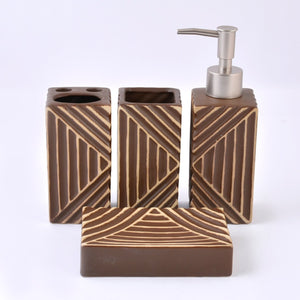 Shiny Wooden Texture Bath Set