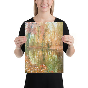 Autumn Pond Surrounded by Trees