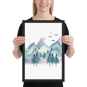 Mountain and Birds Scene