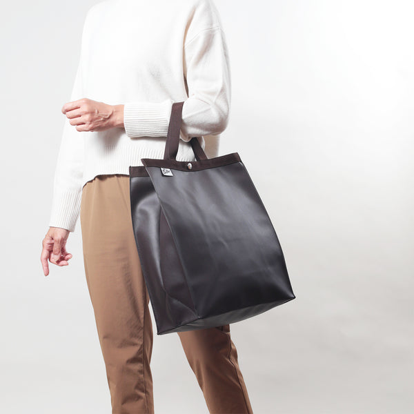 PAPER BAG TOTE L FAKE LEATHER