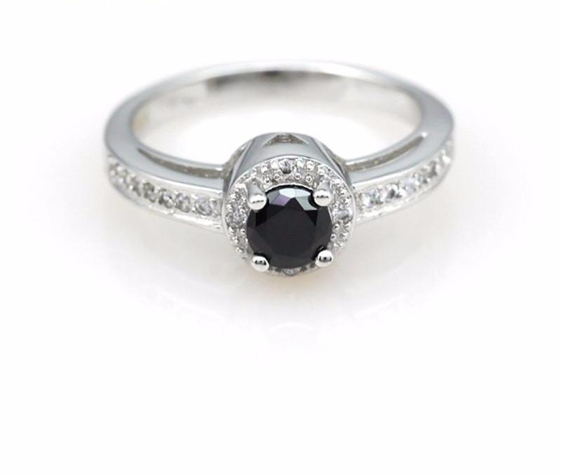 Black Stone SPurple Crystal Ring