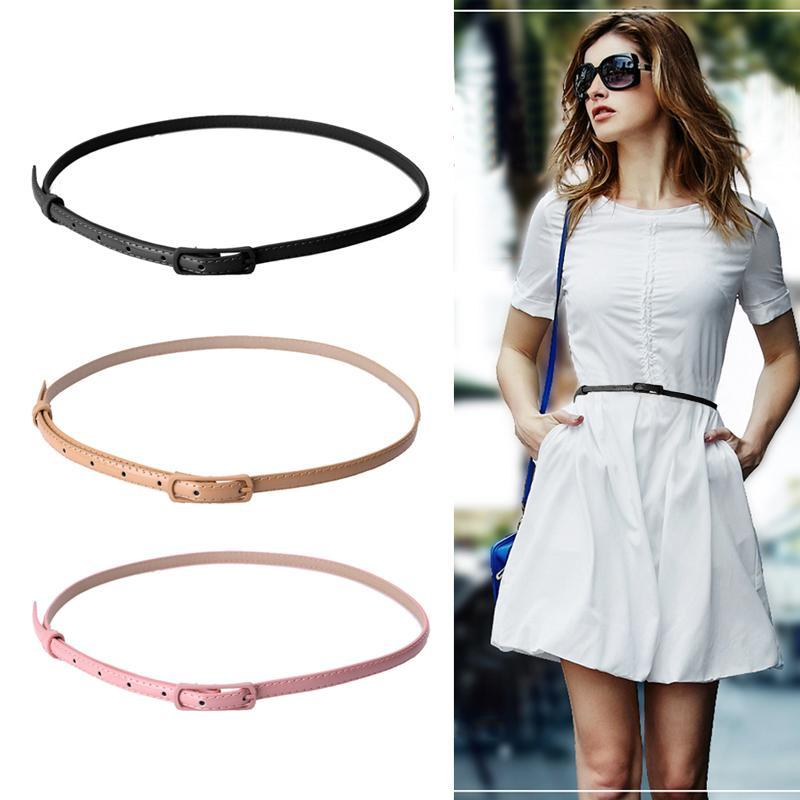 Leather Narrow Thin Waist Belt