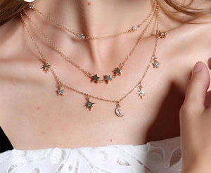 Bohemia layer crystal  star necklace
