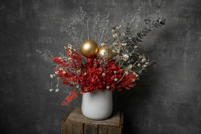 Christmas Red Preserved Flowers Arrangement