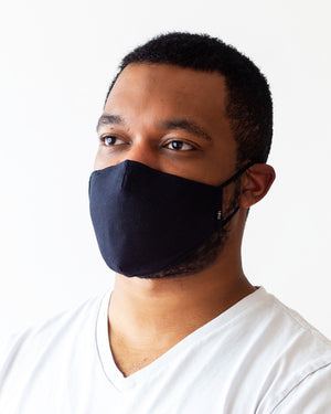 Black solid cloth face mask modeled on a male