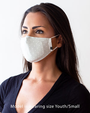 Polka Dot cloth face mask modeled on a female