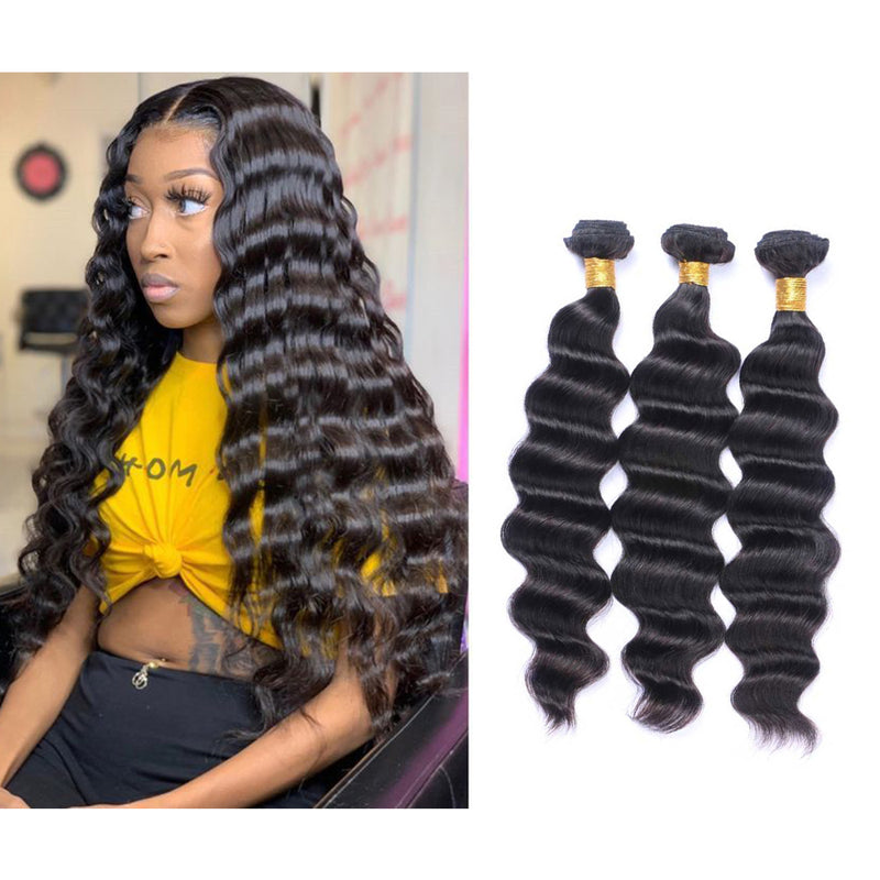 BHE Hair 8A Loose Deep Wave, Brazilian Virgin Human Remy Weave 3 Bundles