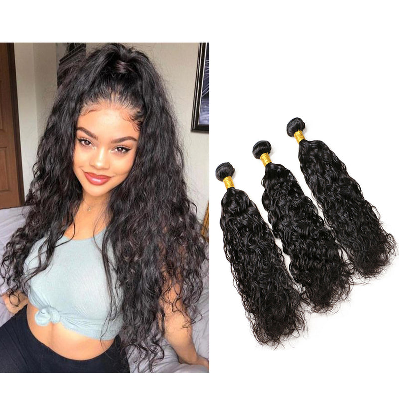 BHE Hair 8a Wet N Wavy Weave 3 Bundles Brazilian Natural Wave Human Hair Sew In Weave