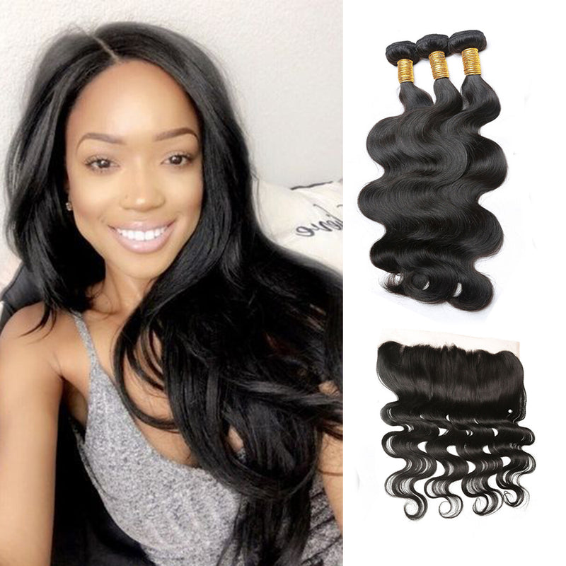 Bhe 100% Unprocessed 3 Bundles Brazilian Body Wave Hair with 13*4 Ear to Ear Lace Frontal Closure