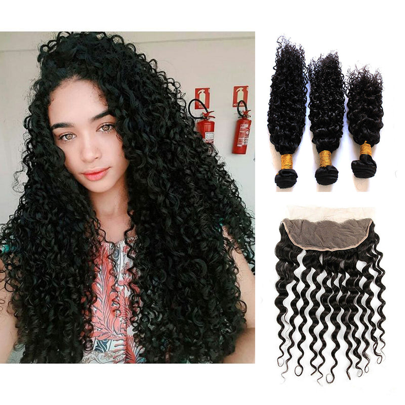 Brazilian Deep Curly Bhe Hair 3 Bundles with 13*4 Ear to Ear Lace Frontal Closure 100% Virgin Human Hair