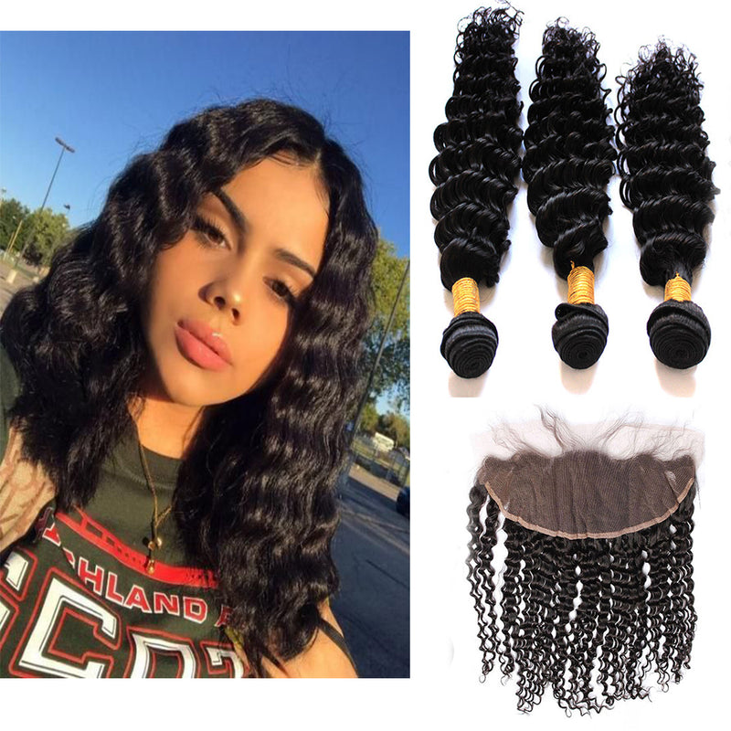Bhe Virgin Hair 3 Bundles with 13x4 Ear to Ear Lace Frontal Deep Wave Curly Human Brazilian Hair Weave On Sale