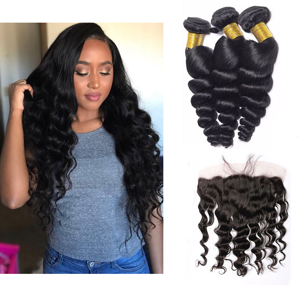 Bhe Brazilian Loose Wave 3 Bundles Hair with 13*4 Ear to Ear Lace Frontal Closure Can Be Dyed And Bleached