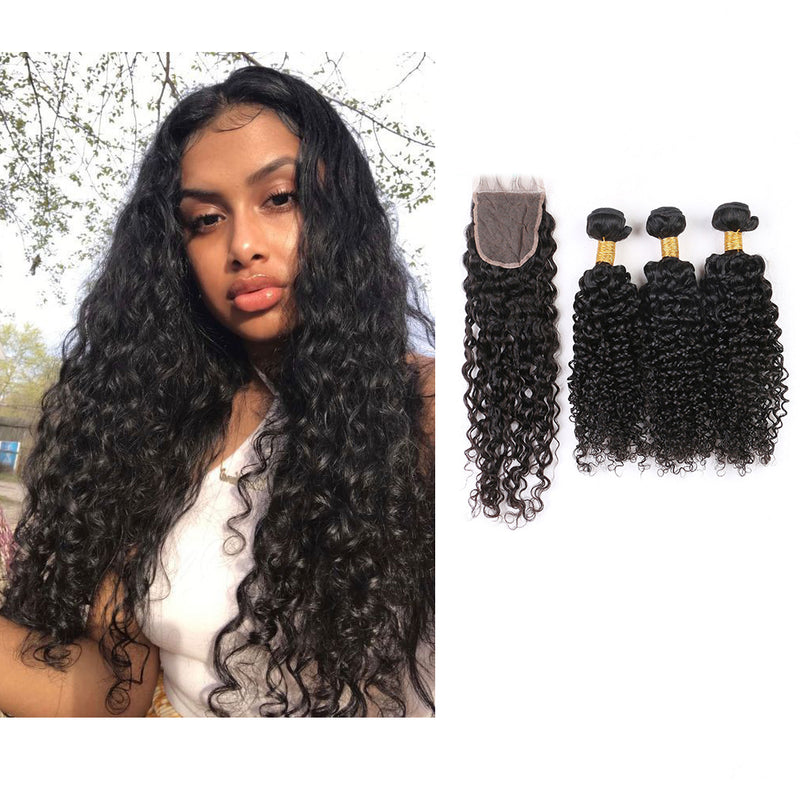 BHE Hair 8A Brazilian Deep Curly Hair 3 Bundles With 4x4 Lace Closure Best Curly Sew In Weave