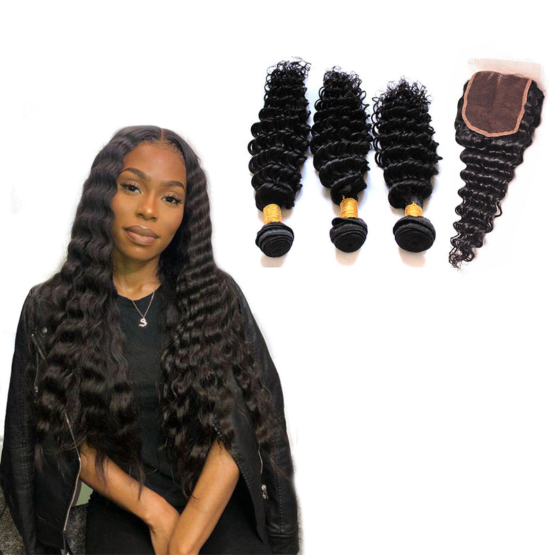 BHE Hair 8a Brazilian Deep Wave And 4x4 Lace Closure, 3 Bundles Deals Free Middle Three Part