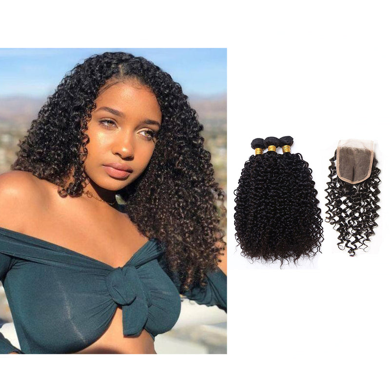 BHE Hair 8a 3 Bundles Brazilian Kinky Curly Afro Kinky Human Hair With Lace Closure