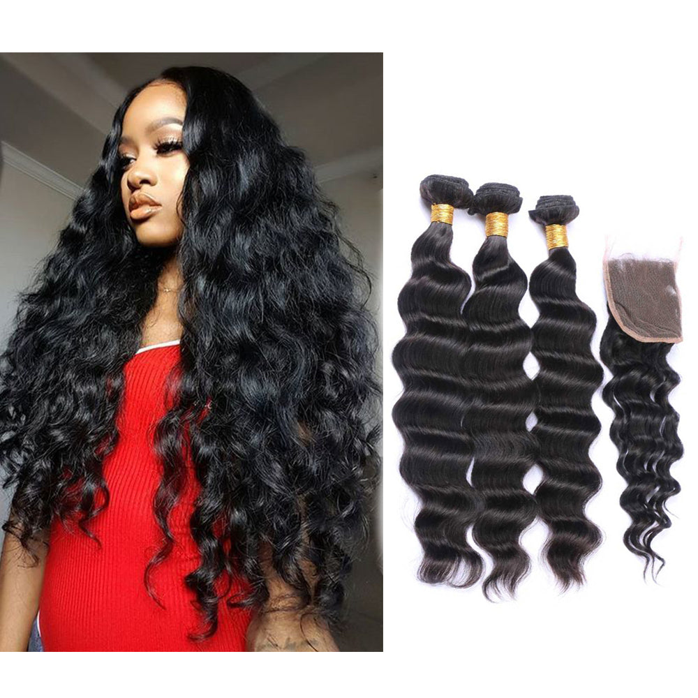 BHE Hair 8a Cheap Brazilian Loose Deep Wave Virgin 3 Bundles With 4x4 Lace Closure, Loose Body Wave Hairstyles