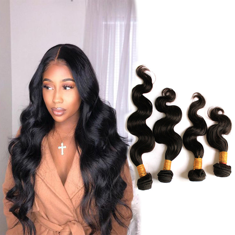 BHE Hair 8A Best Wavy Hair Brazilian Body Wave 4 Bundles Deals Human Hair Weave