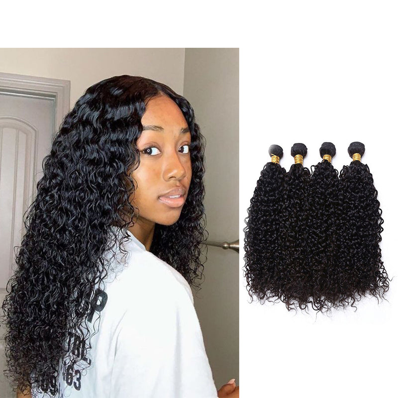 BHE Hair 8a 4 Bundles Jerry Curl Brazilian Kinky Curly Remy Hair Extension, Afro Kinky Human Hair