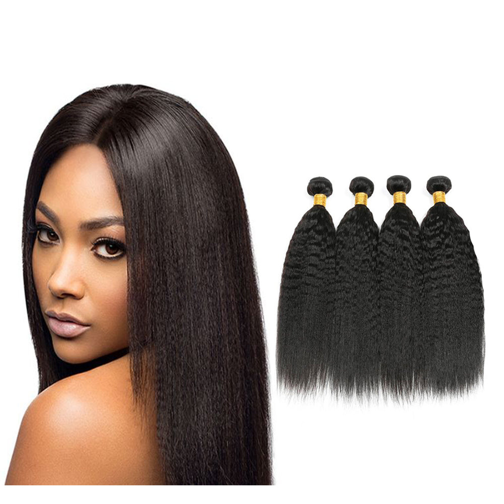 BHE Hair 8a Brazilian Kinky Straight, Yaki Straight Virgin Human Remy Hair Weave 4 Bundles Deals