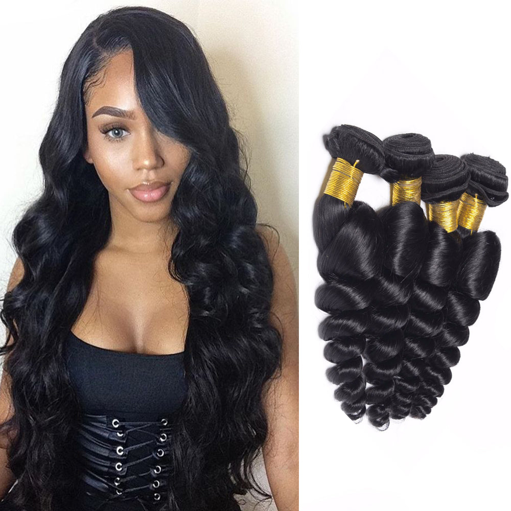 BHE Hair 8A Remy 4 Bundles Brazilian Loose Wave Hair Loose Curly Human Hair Weft