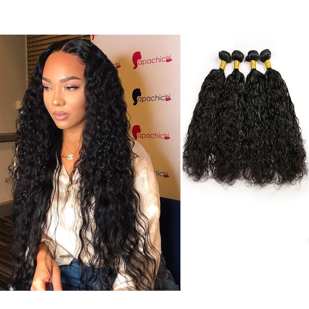 BHE Hair 8a 4 Bundles Brazilian Wet And Curly Wavy Weave Natural Wave Virgin Human Remy Hair Weave