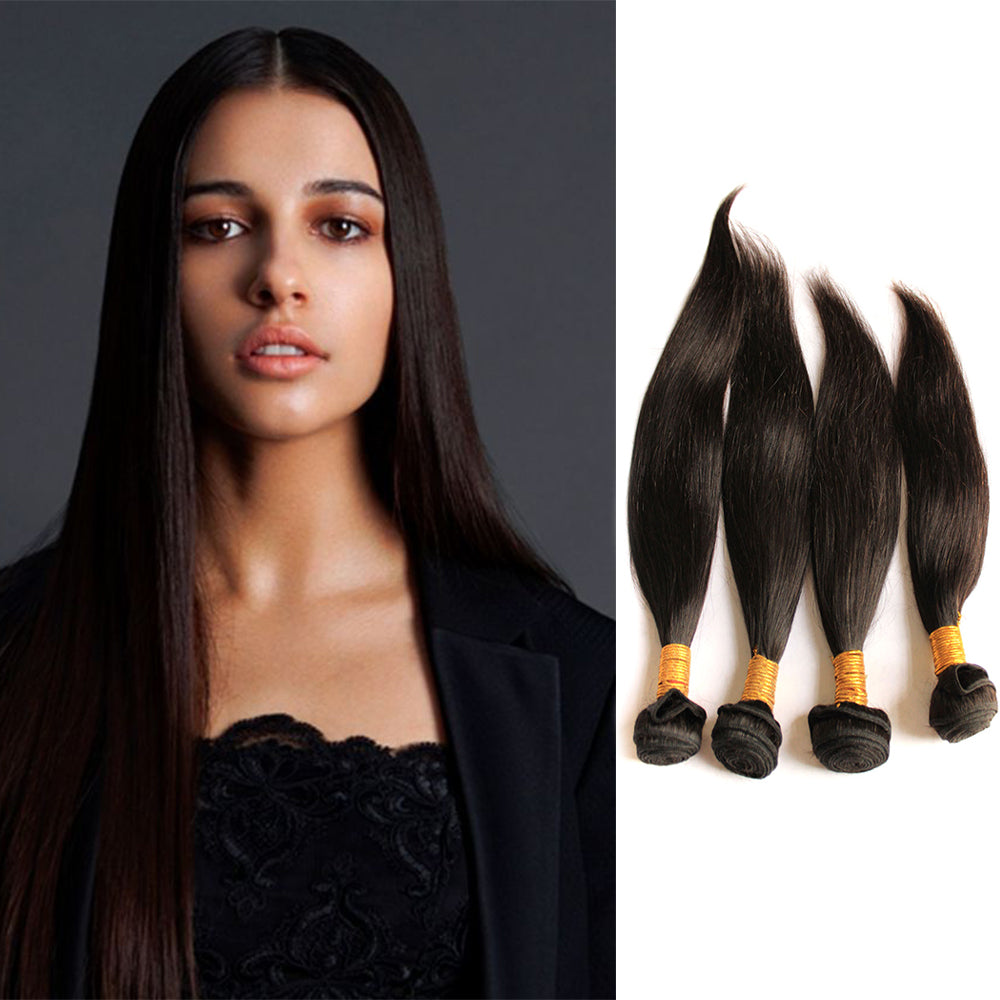 BHE Hair 8A 4 Bundles Brazilian Straight Virgin Human Remy Hair Weave