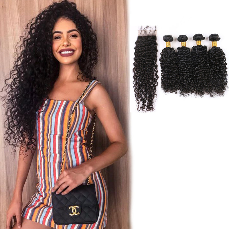 BHE 8a 4 Bundles Jerry Curls, Brazilian Deep Curly Hair Weave With 4x4 Lace Closure