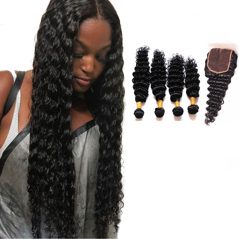 BHE Hair 8A Brazilian Hair Deep Wave Virgin Human Remy Weave 4 Bundles With 4x4 Lace Closure
