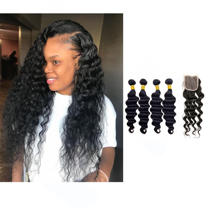 BHE Hair 8A 4 Bundles Brazilian Loose Deep Wave Virgin Human Remy Hair Weave With 4x4 Lace Closure