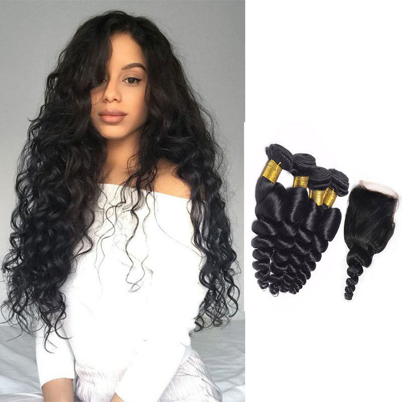 BHE Hair 8a Brazilian Loose Waves Hairstyles 4 Bundles Deal With 4x4 Lace Closure