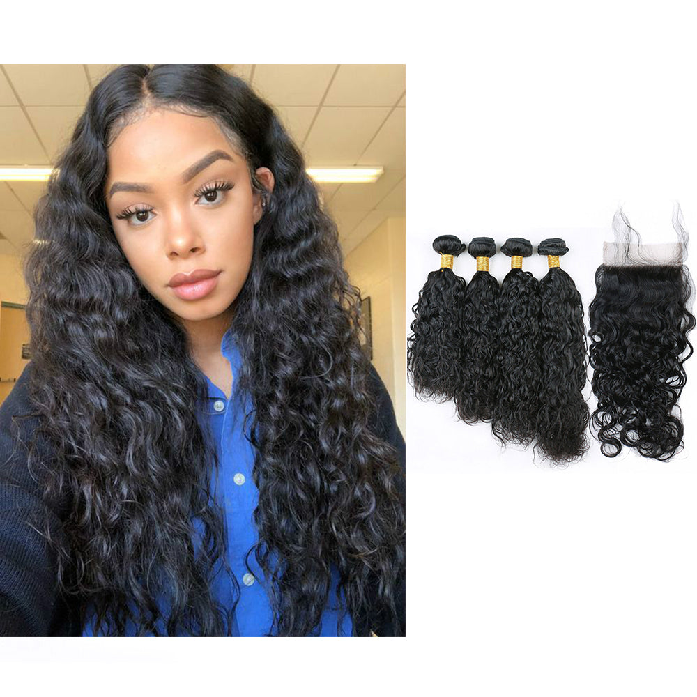BHE Hair 8A Brazilian Wet And Wavy, Water Wave 4 Bundles With 4x4 Lace Closure On Sale, Natural Wave Hairstyle