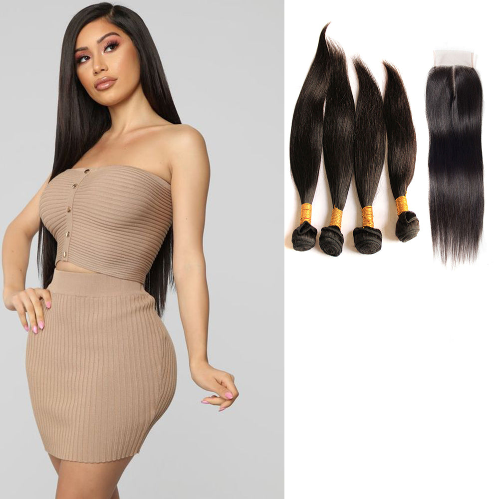 BHE Hair 8a Best Brazilian Straight Weave 4 Bundles With 4x4 Lace Closure, Good Hair Bundles