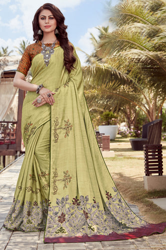 Bhelpuri Green Satin georgette Embroidery  Traditional Saree with Blouse Piece