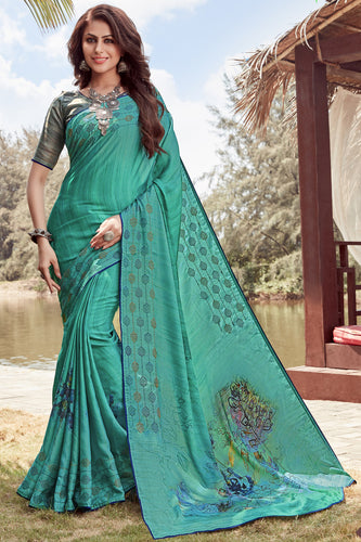 Bhelpuri Blue Satin georgette Embroidery  Traditional Saree with Blouse Piece