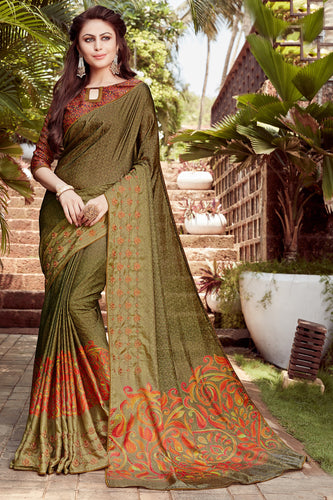 Bhelpuri Dark Green Satin georgette Embroidery  Traditional Saree with Blouse Piece