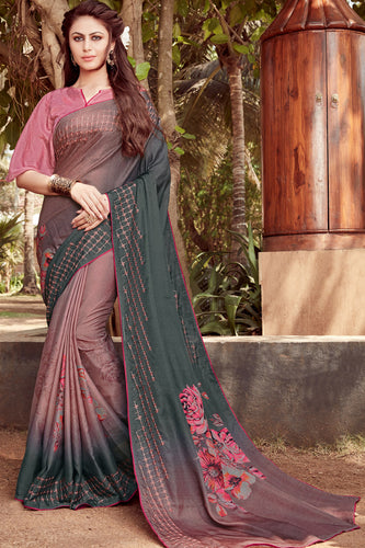 Bhelpuri Multicolor Satin georgette Embroidery  Traditional Saree with Blouse Piece