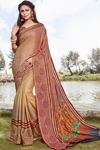 Bhelpuri Brown Satin georgette Embroidery  Traditional Saree with Blouse Piece