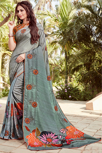 Bhelpuri Grey Satin georgette Embroidery  Traditional Saree with Blouse Piece