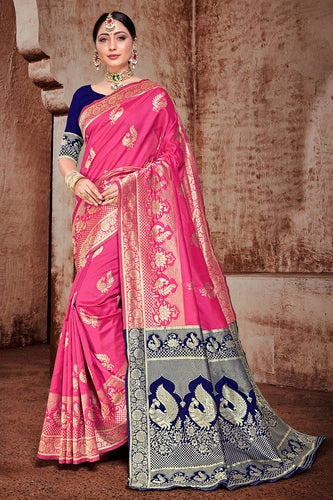 Bhelpuri Light Pink Banarasi Silk Woven Saree with Blouse Piece