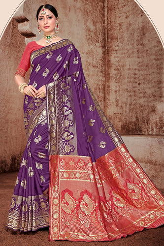 Bhelpuri Purple Banarasi Silk Woven Saree with Blouse Piece