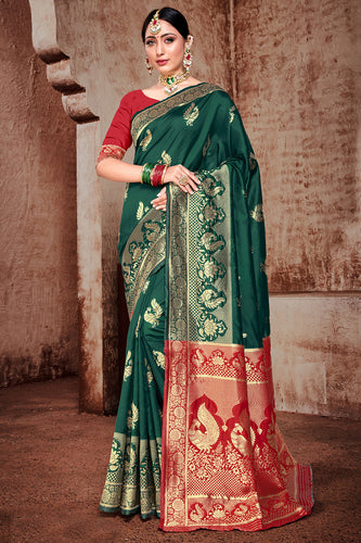 Bhelpuri Green Banarasi Silk Woven Saree with Blouse Piece