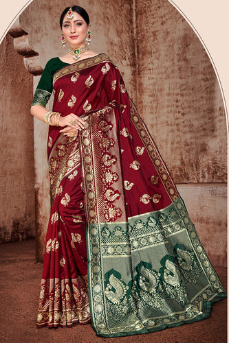 Bhelpuri Maroon Banarasi Silk Woven Saree with Blouse Piece
