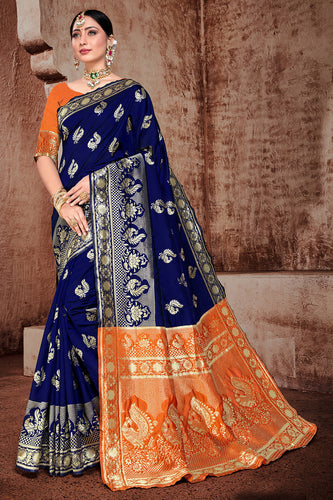 Bhelpuri Navy Blue Banarasi Silk Woven Saree with Blouse Piece