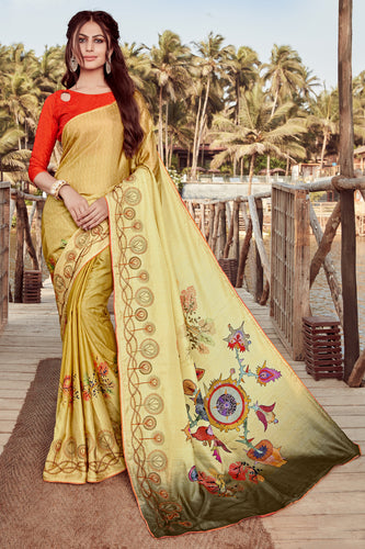 Bhelpuri Yellow Satin georgette Embroidery  Traditional Saree with Blouse Piece