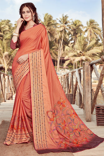 Bhelpuri Orange Satin georgette Embroidery  Traditional Saree with Blouse Piece